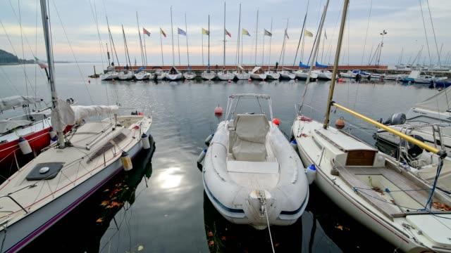 harbor with fishing boats, garda, lake garda, lago di garda, veneto, italy - lago stock videos & royalty-free footage