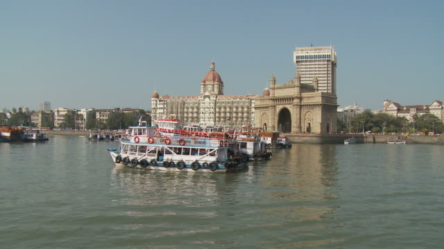 ws pov harbor with gateway of india / mumbai, india - gate stock videos & royalty-free footage