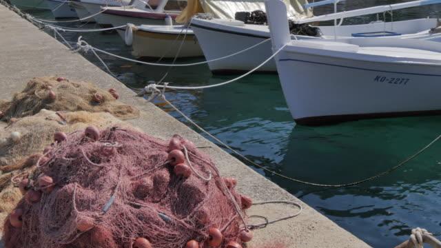 Harbour boats in Lumbarda, Korcula Island, Dalmatia, Croatia, Europe