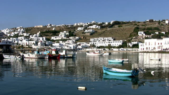 harbour of  mykonos - mykonos stock videos and b-roll footage