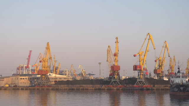 harbour / port of Odessa with coal hills