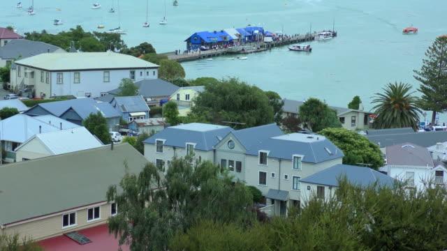 harbour wharf - akaroa, new zealand - akaroa stock videos & royalty-free footage