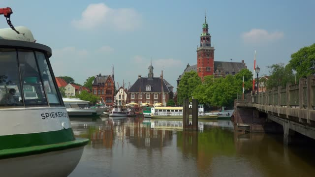 Harbour with Townhall and Waage, Old Scale House, Leer, East Frisia, Lower Saxony, Germany