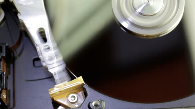 hard disk drive inside closeup - byte stock videos & royalty-free footage