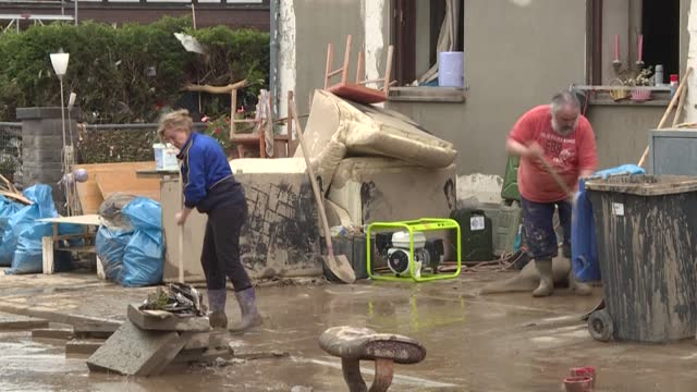 hard hit by floods that have caused at least 100 deaths in germany, residents of the town of bad neuenahr-ahrweiler are beginning to clear water and... - germany stock videos & royalty-free footage