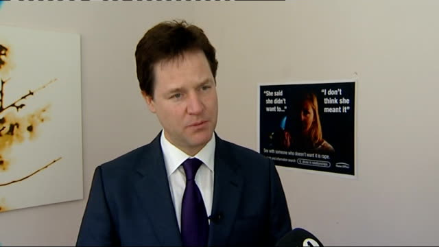 a hard hitting government advert in campaign to highlight rape clegg visits rape crisis centre discussion continues nick clegg mp interview sot talks... - sexual violence stock videos and b-roll footage
