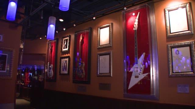 hard rock cafe hosts the launch of the new aerosmith guitar hero at the aerosmith launches new guitar hero at new york ny - モダンロック点の映像素材/bロール