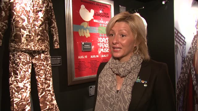 hard rock cafe's director of philanthropy/woodstock memorabilia expert annie balliro on where the exhibition will be on display and where it has... - hard rock cafe stock videos & royalty-free footage