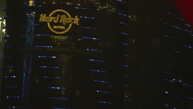 ms hard rock hotel skyscraper dark sky bg - cotai strip stock videos and b-roll footage