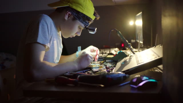 hardware project for school - teenage boys stock videos & royalty-free footage