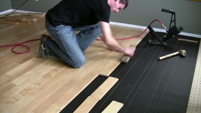 hardwood installation - hardwood stock videos & royalty-free footage
