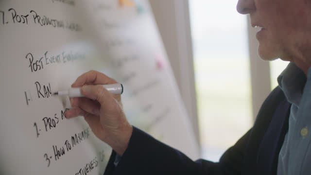 cu hardworking businessman writes plan on whiteboard in a confident manner - formal businesswear stock videos & royalty-free footage
