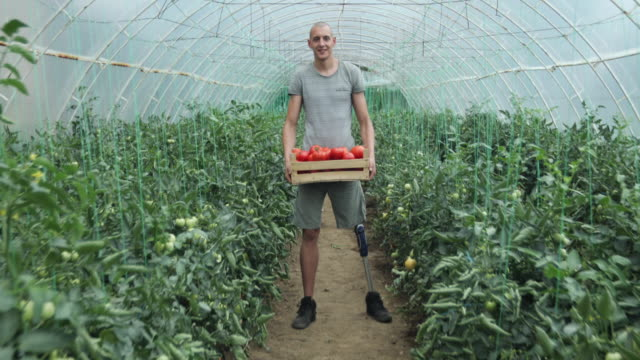 hardworking disability guy on farm - disability stock videos & royalty-free footage
