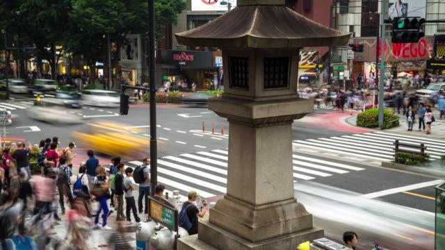 harijuku intersection - motion timelapse - 横断する点の映像素材/bロール