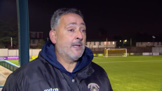 "haringey borough manager tom loizou saying he hopes he ""never has to make the decision again"" to pull his team off the pitch for crowd racism, as... - racism stock videos & royalty-free footage"