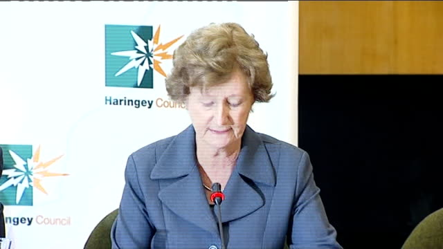 haringey council press conference following investigation into death of 'baby p councillor liz santry sot i'm councillor liz santry and i am today... - bedauern stock-videos und b-roll-filmmaterial