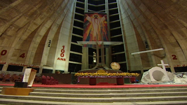 harissa cathedral. low angle from the altar to the statue of our lady of lebanon . - apse stock videos & royalty-free footage