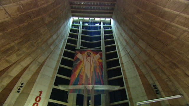 harissa cathedral. low angle view of a painting of christ over the altar of the basilica. - apse stock videos & royalty-free footage