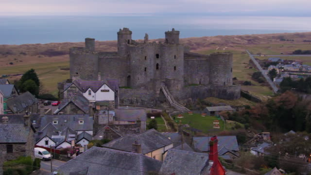 harlech castle, north wales, united kingdom. - snowdonia stock videos & royalty-free footage