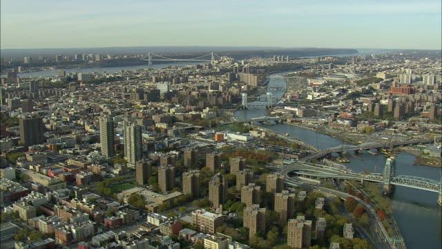 AERIAL WS Harlem and Willis Avenue Bridge / New York City, New York, USA