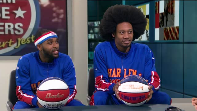 harlem globetrotters; england: london: gir: dizzy and moose live studio interview sot - ハーレムグローブトロッターズ点の映像素材/bロール