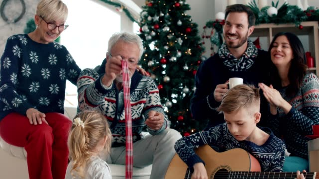 harmony on christmas day - sweater stock videos & royalty-free footage