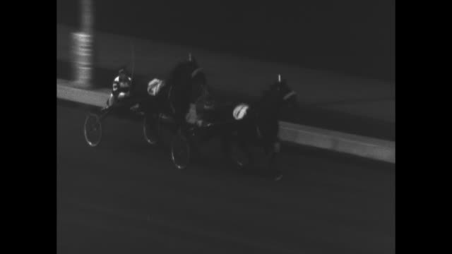 Harness racing at Roosevelt Raceway / 2horse race Adios Harry and Adios Boy brothers / horses with the starter / race begins with Adios Harry leading...