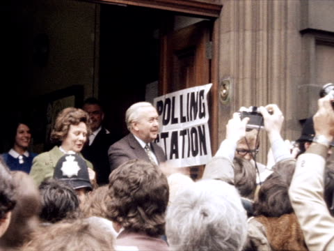 harold and mary wilson leave a polling station after voting in the eec referendum. - referendum stock videos & royalty-free footage