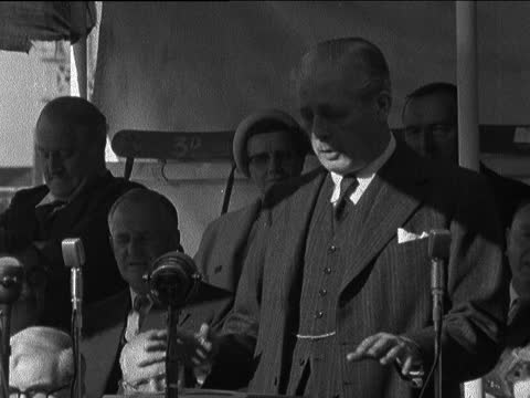 harold macmillan addresses conservative meeting at bedford; england: bedfordshire: bedford: bedford football ground: ext harold macmillan speaking... - itv evening bulletin stock videos & royalty-free footage