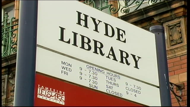 Hyde Library general views ENGLAND Manchester EXT 'Hyde Library' sign PULL OUT to GVs building / paper sign 'Shipman Inquiry Public Viewing Room'...