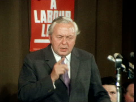 england london islington town hall int ms harold wilson mp sof every mandate he claimstest of a general election ekt 16mm itn 121mins 505ft 19671 /... - harold wilson stock-videos und b-roll-filmmaterial