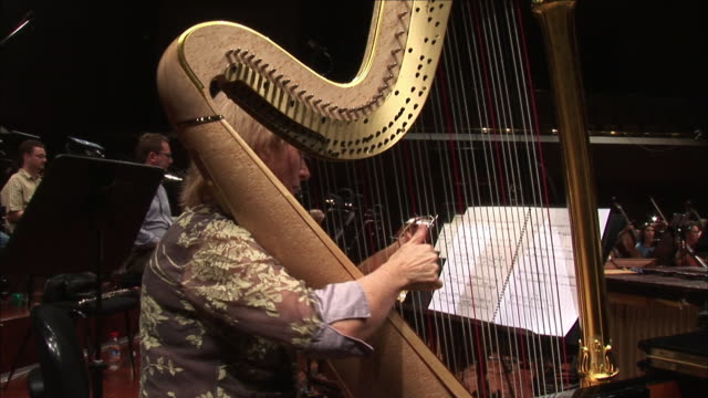 a harpist strums her fingers along the strings of a harp. - harp stock videos & royalty-free footage