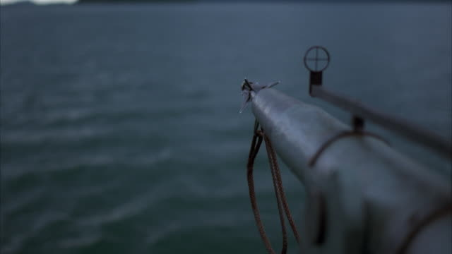 slo mo, r/f harpoon gun shooting into water - arpone video stock e b–roll