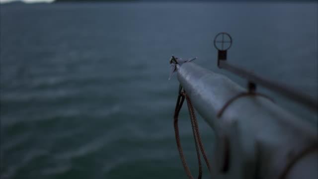 slo mo, r/f harpoon gun shooting into water - harpoon stock videos and b-roll footage
