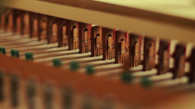 harpsichord or clavicembalo mechanics - string instrument stock videos & royalty-free footage