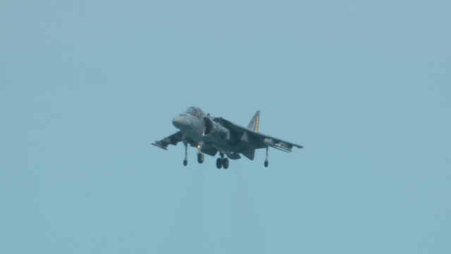 harrier ii short takeoff, vertical landing jet aircraft flies above lake michigan during the chicago air and water show on aug. 20, 2017. - chicago air and water show stock videos & royalty-free footage
