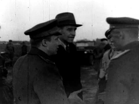 harriman arriving at airfield us officers awarding soviet officers military medals cameraman filming the event - cameraman stock videos & royalty-free footage