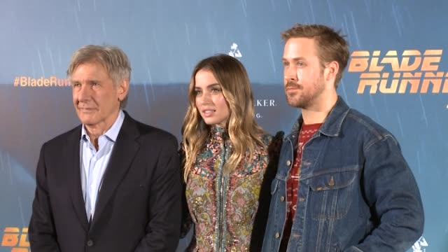 harrison ford ana de armas and ryan gosling poses during the photocall of the film 'blade runner 2049' - ryan gosling stock videos and b-roll footage