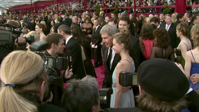 harrison ford and calista flockhart at the 2008 academy awards at the kodak theatre in hollywood, california on february 24, 2008. - calista flockhart stock-videos und b-roll-filmmaterial