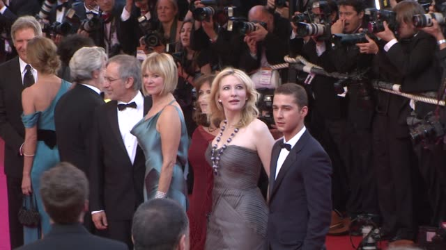 "harrison ford and calista flockhart at the 2008 cannes film festival - ""indiana jones and the kingdom of the crystal skull"" world premiere in cannes... - calista flockhart stock-videos und b-roll-filmmaterial"