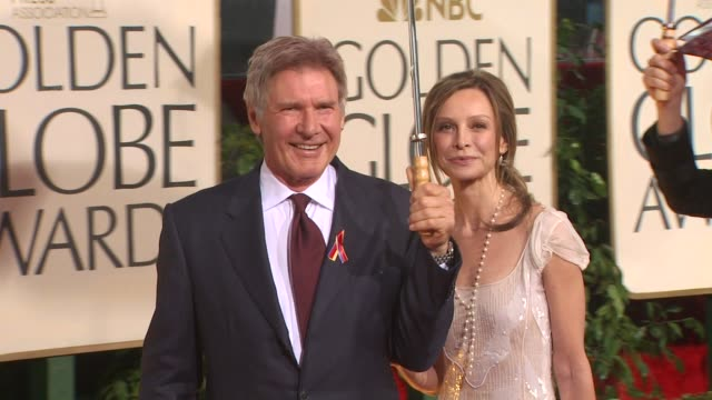 harrison ford and calista flockhart at the 67th annual golden globe awards - arrivals part 5 at beverly hills ca. - calista flockhart stock-videos und b-roll-filmmaterial