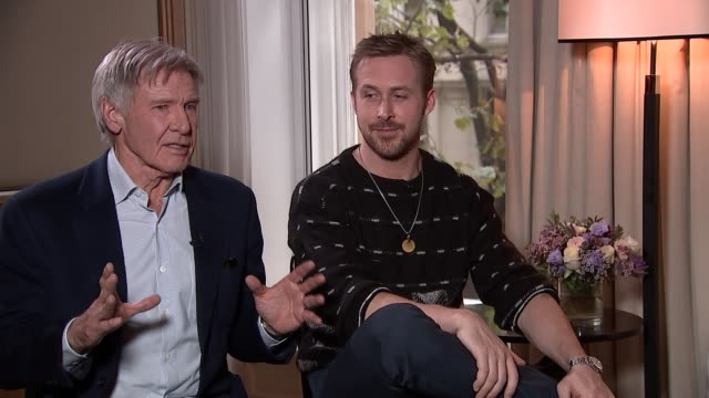 Harrison Ford and Ryan Gosling interview London INT Actors Harrison Ford and Ryan Gosling interview SOT on Blade Runner 2049 film Gosling on seeing...