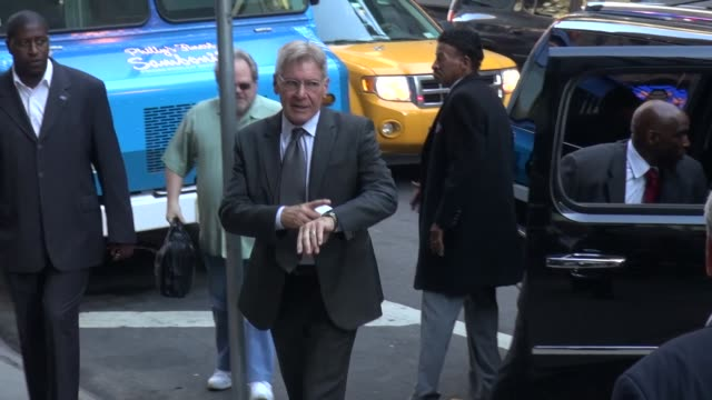 harrison ford arrives at good morning america in new york ny on 8/15/13 - good morning america stock videos and b-roll footage