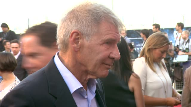 harrison ford at the cowboys aliens uk premiere at london england - cowboys & aliens stock videos and b-roll footage