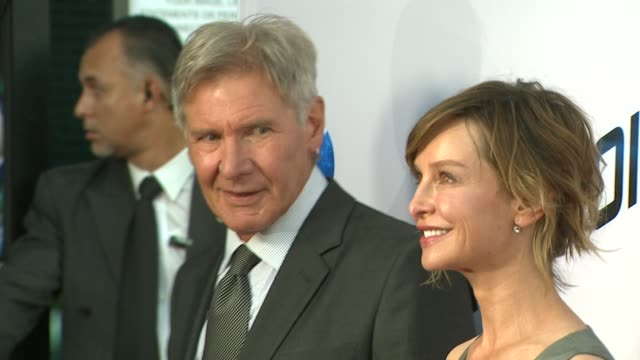 harrison ford, calista flockhart at paranoia premiere on 8/8/13 in los angeles, ca . - calista flockhart stock-videos und b-roll-filmmaterial