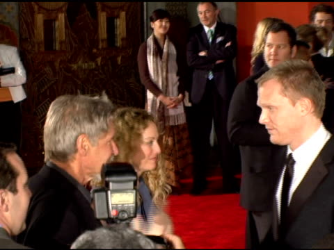 harrison ford virginia madsen and paul bettany at the 'firewall' premiere at grauman's chinese theatre in hollywood california on february 2 2006 - virginia madsen stock videos & royalty-free footage