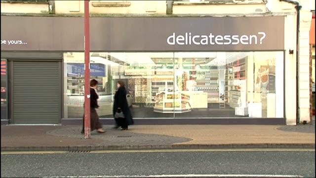 """harrow council creates """"fake"""" shop to attract retailers; file / date unknown north east england: ext gv exterior of """"fake"""" shop with word... - harrow stock videos & royalty-free footage"""