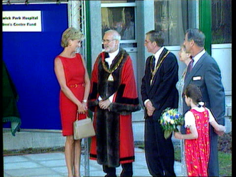 harrow: northwick park hospital: ext princess diana preparing to unveil plaque to commemorate opening of children's a & e unit - harrow stock videos & royalty-free footage