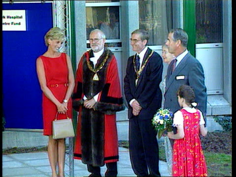 harrow: northwick park hospital: ext princess diana waiting to unveil plaque to commemorate opening of children's a & e unit - harrow stock videos & royalty-free footage