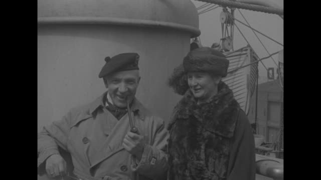 harry and ann lauder posing for photo opportunity on board ocean liner harry smoking pipe with long stem / cu harry / note exact year not known - 1910 stock videos and b-roll footage